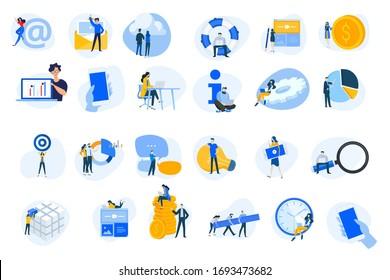 Kollektion von Symbolen für flaches Design. Vektorgrafiken für Internet-Dienste, Cloud-Computing, Content-Management, Webentwicklung, Business, Video-Streaming, Teamwork, Finanzen, Mobile-Use.