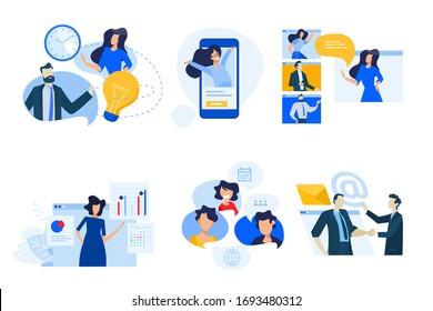 Kollektion von Symbolen für flaches Design. Vektorgrafiken von Konferenzgesprächen, sozialen Medien, Video-Streaming, Business-Apps, Zeit- und Projektmanagement. Symbole für Grafiken und Webdesigns, Marketing m