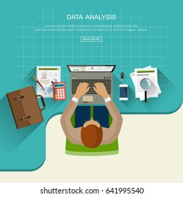 Flat design concept with management and analysis of financial and marketing data. Research, investigation and development of information and  businessman. Vector illustrations