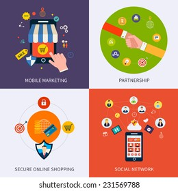 Flat design concept of mobile marketing, partnership, social network, secure online shopping