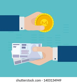 Flat Design Concept of Monero Gold Coin and South Korean Won  Exchange. Hands Holding Crypto Currency Coins and Making Exchange. Crypto Currency Business Idea Concept Isolated Vector illustration