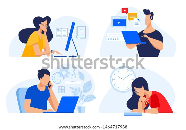Flat design concept of online education, training and courses, learning, video tutorials. Vector illustration for website banner, marketing material, presentation template, online advertising.