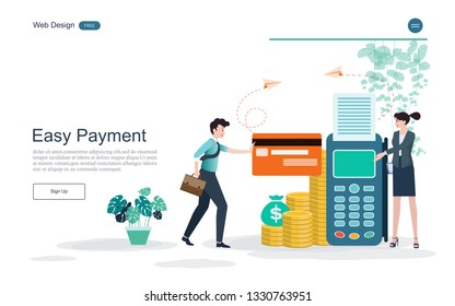 Flat design. Concept online and mobile payment  for web page.Confirm payment using a smartphone, Mobile payment, Online banking,payment terminals.Vector illustration.