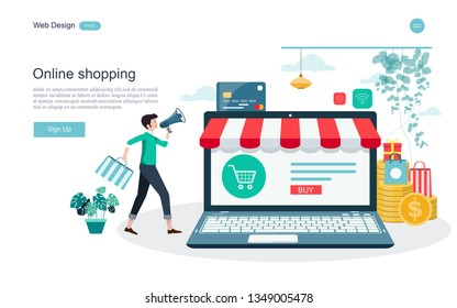 Flat design concept of online shopping ,convenience in online trading for web page, website,template and background.Vector illustration.