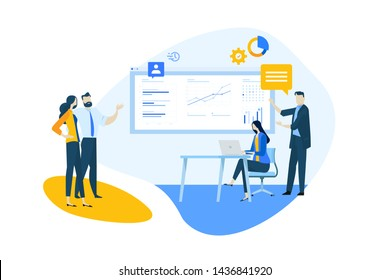 Flat design concept of our team, business analysis and planning, time management. Vector illustration for website banner, marketing material, business presentation, online advertising.