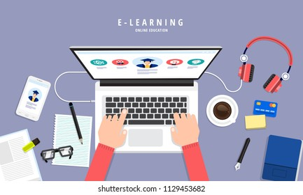 Flat design concept people education online knowledge witgh e-learning program. Vector i9llustrations.