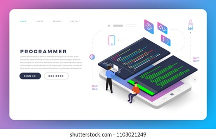 Flat design concept programmer coding program. Vector illustrate.