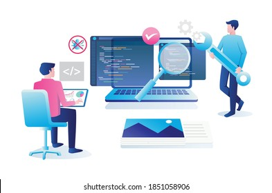 Flat design concept, a programmer is securing the system