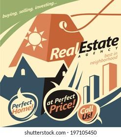 Flat design concept for real estate business. Web banner creative concept.