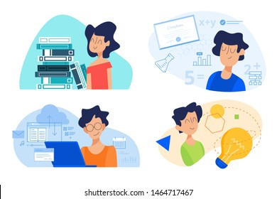 Flat design concept of school, knowledge and creativity, distance education, university. Vector illustration for website banner, marketing material, presentation template, online advertising.