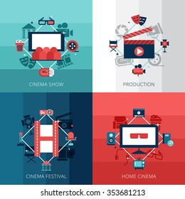Flat design concept set of cinena show cinema festival and home video technology vector illustration