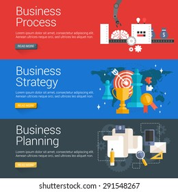 Flat Design Concept. Set of Vector Illustrations for Web Banners. Business Process, Business Strategy, Business Planning