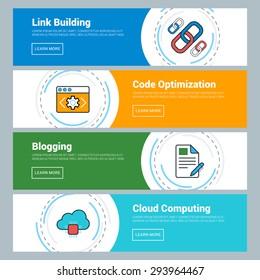 Flat Design Concept. Set of Vector Web Banners. Link Building, Code Optimization, Blogging, Cloud Computing