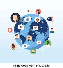 Flat design concept social network. Peoples connecting around the world with line and avatar icon. Vector illustrate. Sharing and social marketing flat vector concept with icons. Create content