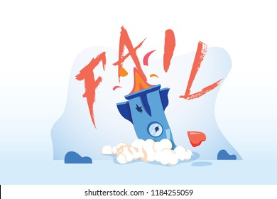 Flat design concept start up rocket down to text fail. Vector illustrate. Rocket crashed. Failed launch. Startup rocket crash. Not working project, management failed to achieve profit. Business fail