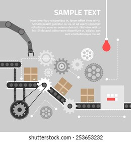 Flat design concept for technlology process. Vector illustration for web banners and promotional materials
