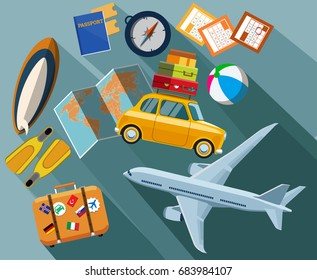 Flat design concept for travel and tourism. Travel and tourism. Holidays and vacation. Airplane, car, passport, fins, surfboard, ball, world map, compass. Vector illustration Eps10 file