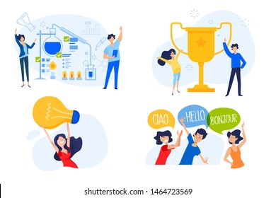 Flat design concept of university, science, key to success, great idea, language course. Vector illustration for website banner, marketing material, presentation template, online advertising.
