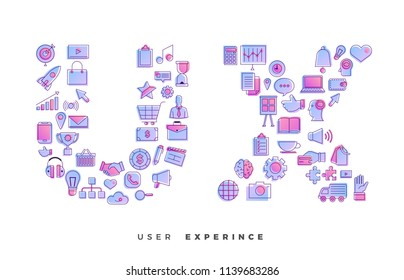 Flat design concept vector icons combination to shape of word UX ( User Experience ). Vector illustrations.