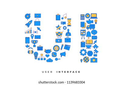 Flat design concept vector icons combination to shape of word UI ( User Interface). Vector illustrations.