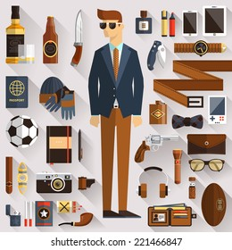 Flat design concept vector illustration of every day carry and outfit accessories, things, tools, devices, essentials, equipment, objects, clothes. Icons collection in modern colors. Stylish man
