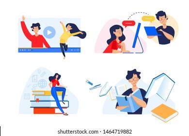 Flat design concept of video tutorials, e-book, e-learning, virtual classroom. Vector illustration for website banner, marketing material, presentation template, online advertising.