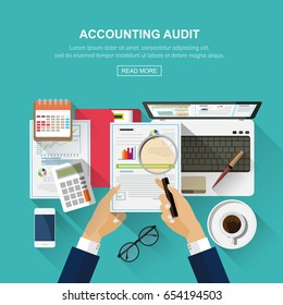 Flat design concepts for auditing . Auditor examination of financial report. Tax process. Research, project management, planning, accounting, analysis, data and investment. Vector for website banners.