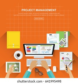 Flat design concepts for business analysis and planning, consulting, team work, project management, financial report and strategy . Concepts web banner and printed materials.Vector illustration.
