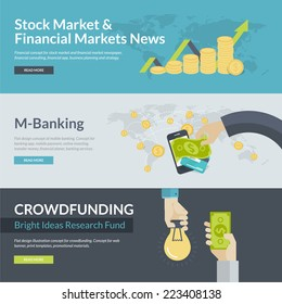 Flat design concepts for business, finance, stock market and financial market news, consulting, m-banking, online investing, crowdfunding. Concepts for web banners and promotional materials.