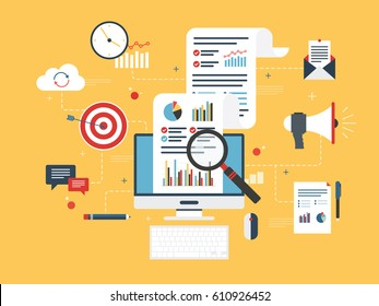 Flat design concepts for business marketing, analytics and strategy in vector design.
