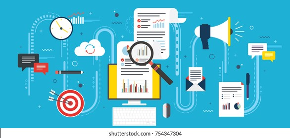 Flat design concepts for business marketing, analytics and strategy in vector design. Data analysis and finance, digital marketing and startup and new business. Vector with blue background.