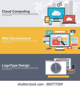 Flat design concepts for cloud computing, web development and logo design. Concepts for web banner and printed materials.