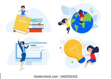 Flat design concepts of distance school and education, knowledge and creativity. Vector illustrations for website banner, marketing material, presentation template, online advertising.