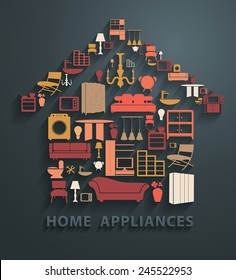 Flat design concepts home appliances icons, Vector illustration modern template