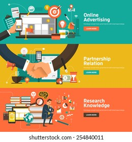 Flat design concepts for Online Advertising, Partnership Relation, Research Knowledge. Concepts for web banners and promotional materials.