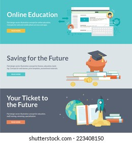 Flat design concepts for online education, staff training, retraining, specialization, finance, banking, student loans, marketing. Concepts for web banners and promotional materials.