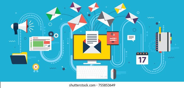 Flat design concepts for send or receive email marketing, business communication and marketing, analytics and business strategy in vector design.