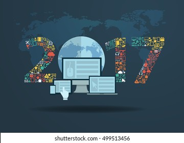 Flat design concepts set application icons with new year 2017 sign, Vector illustration modern template design