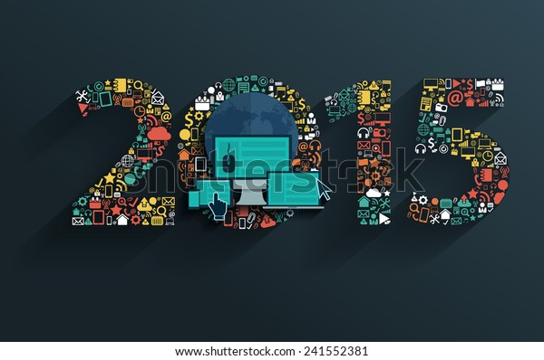 Flat design concepts set application icons with happy new year 2015 sign, Vector illustration modern template design