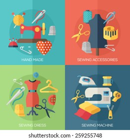 Flat design concepts for sewing dress, sewing machine, accessories, hand made. Concepts for web banners and promotional materials.