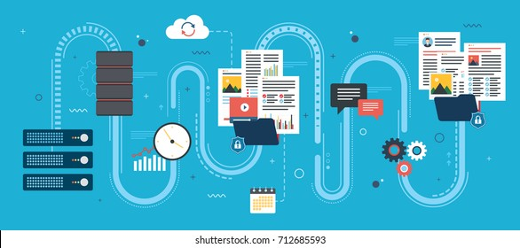 Flat design concepts for shared data, documents, videos and photos.Internet computer users download files safely. Vector design shape blue background.