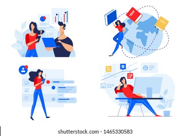Flat design concepts of staff education, training and courses, online education. Vector illustrations for website banner, marketing material, presentation template, online advertising.
