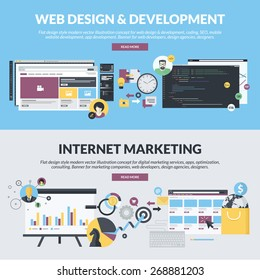 Flat design concepts for web design and development, and internet marketing services, from marketing companies, web developers, design agencies. Concepts for website banners and printed materials.