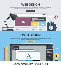 Flat design concepts for web design, graphic design, SEO, app development, logo design. Concepts for website banners and printed materials, for designers, web developers, and design agencies.