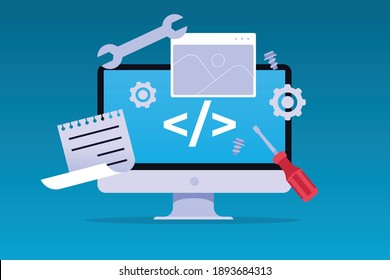 Flat design - Content Management System - Web Design - Coding