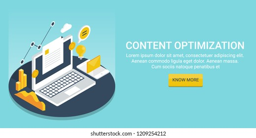 Flat design Content optimization. content analytics, marketing digital media vector banner