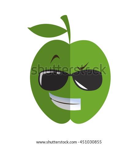 9fb8c81f18952 Flat Design Cool Sunglasses Apple Cartoon Stock Vector (Royalty Free ...