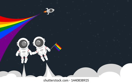 Flat design, Couple Astronaut hold one's hands and holding rainbow flag float on the space with rocket, PRIDE, sexual orientation, LGBT movement concept, Vector illustration, Infographic Element