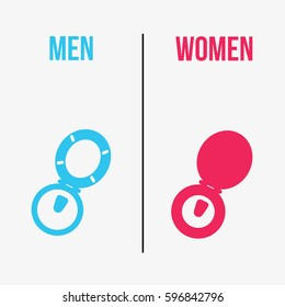 a flat design creative, concept funny modern & clean sign or symbol icon toilet isolated for women and men with pink and light blue color