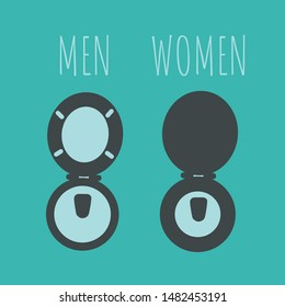 flat design creative funny toilet signs or symbol icon & pictogram isolated for ladies & gentlemen art. Difference between women and men concept for rest room. female & male door signs cartoon for WC.
